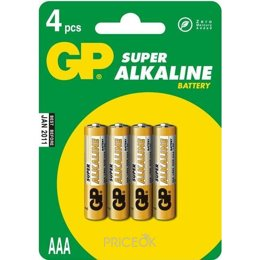 GP Batteries AAA bat Alkaline 4шт Super (24A)