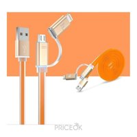 Фото Hoco 2in1 Metal Data Cable Micro Lighting (1,2m) Orange (UPL08-O)