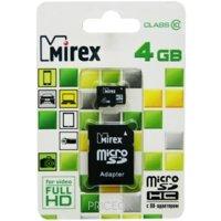 Фото Mirex microSDHC Class 10 + SD adapter 4Gb
