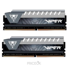 Модуль памяти для ПК и ноутбука Patriot 16GB (2x8GB) DDR4 2666MHz Viper Elite Black/Gray (PVE416G266C6KGY)