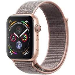 Умные часы, браслет спортивный Apple Watch Series 4 (GPS) 44mm Gold Aluminium Case with Pink Sand Sport Loop (MU6G2)